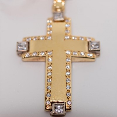 Gold Cross with White Zirconia