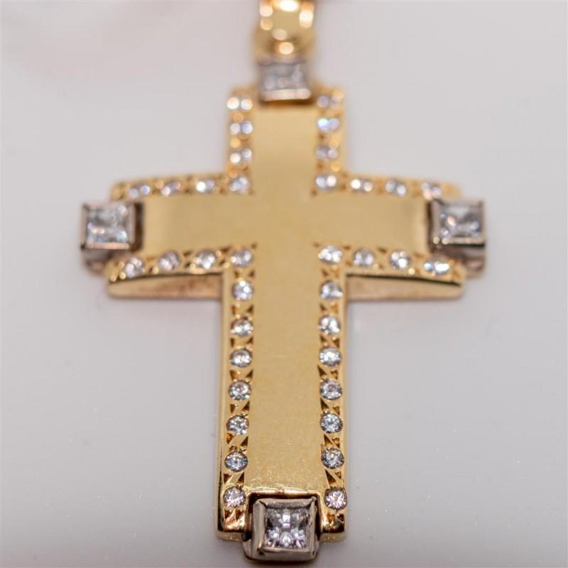 Gold Cross with White Zirconia