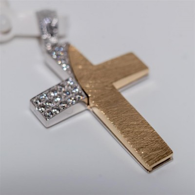 Gold Womans Cross with White Zirconia