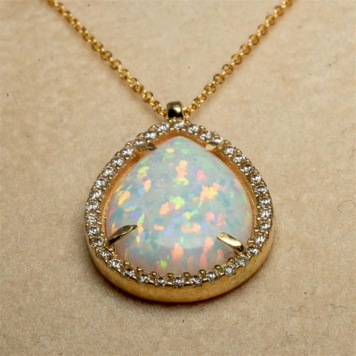 Gold Necklace with White Opal Stone