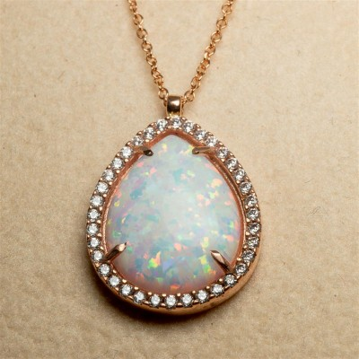Rose Gold Necklace with White Opal Stone