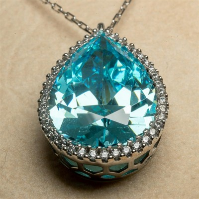 White Gold Necklace with Light Blue Stone