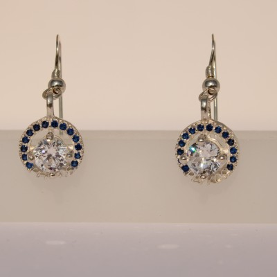 Silver Pefkos Earring with Blue Zirconia Stones