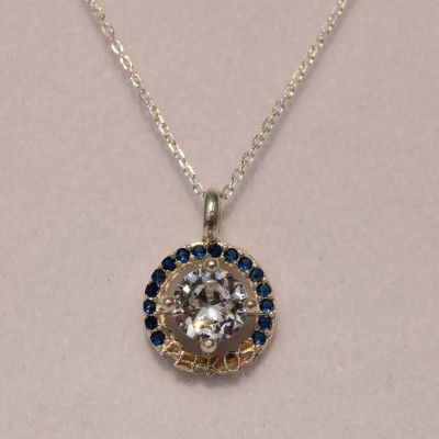 Silver Pefkos Pendant with White - Blue Zirconia Stones