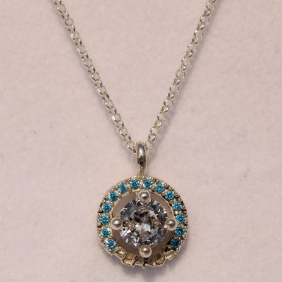Silver Pefkos Pendant with White and Light Blue Stones