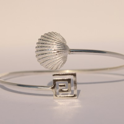 Silver Bracelet with Seashell and Greek Design