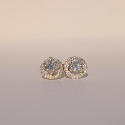 Silver Pefkos Earrings with White Zirconia Stones