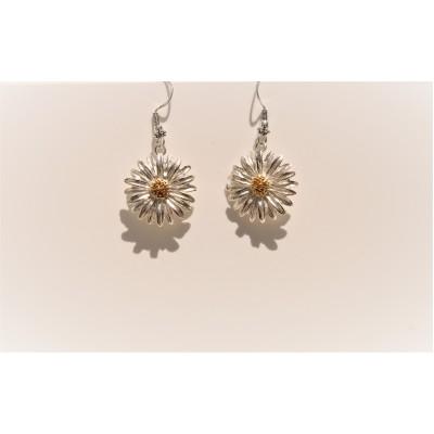Silver Daisy Dangly Earrings