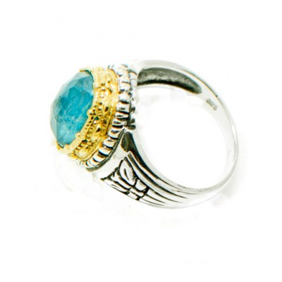 Handmade Ladies Silver Ring with Blue Stone