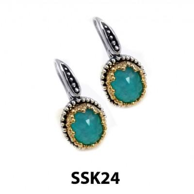 Handmade Ladies Silver Earrings with Blue Stone