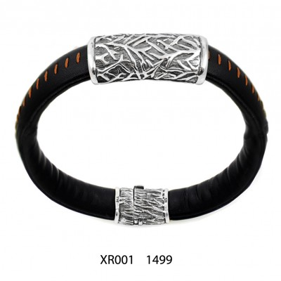 Handmade Mens Bracelet with Silver and Leather
