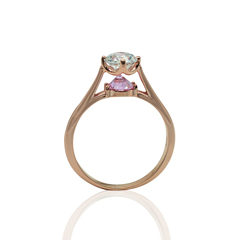 Rose Gold Ring with White and Pink Zirconia