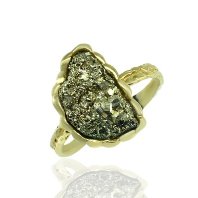 Gold Ring with Iron Pyrite Stone