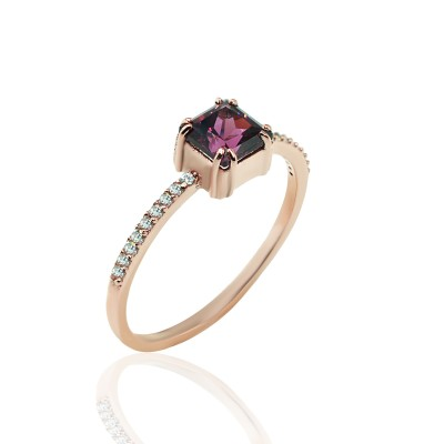 Rose Gold Ring with Rhodolite Stone