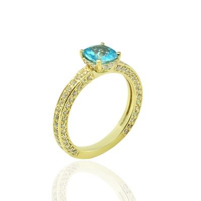 Gold Ring with Topaz Aqua Stone