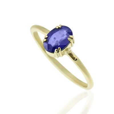 Gold Ring with Sapphire Blue Stone