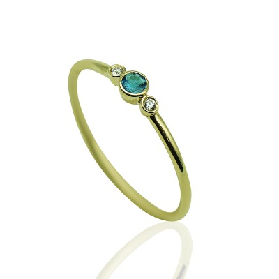 Gold Ring with Apatitis Stone