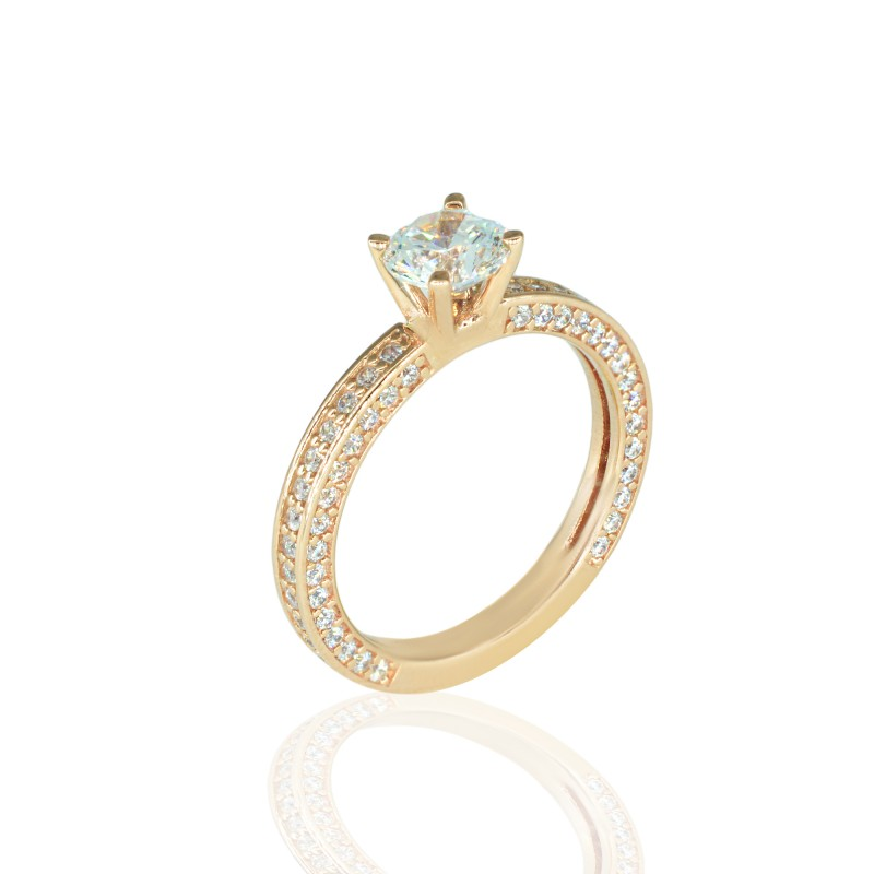Rose Gold Ring with White Zirconia
