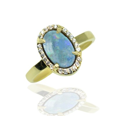 Gold Ring with Blue Opal stone