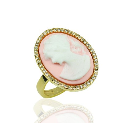 Gold Ring with Pink Cameo Resin