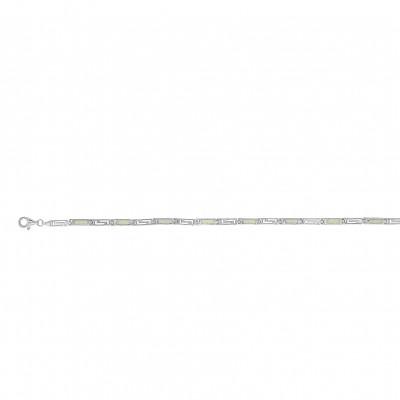 Silver Greek Design Bracelet with White Opal