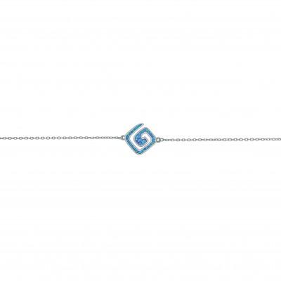Silver Greek Design Bracelet with Blue Opal