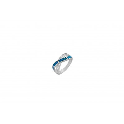 Silver Greek Design Ring with Blue Opal