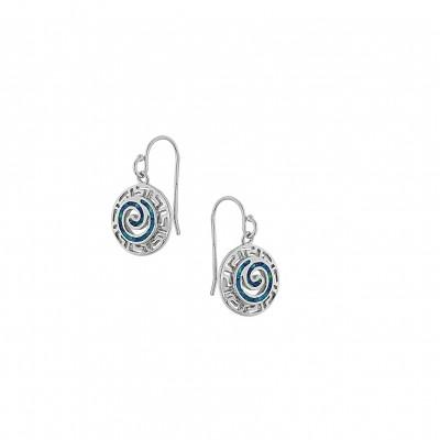 Silver Greek Design Earrings with Blue Opal