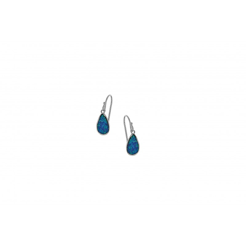 Silver Earrings with Blue Opal