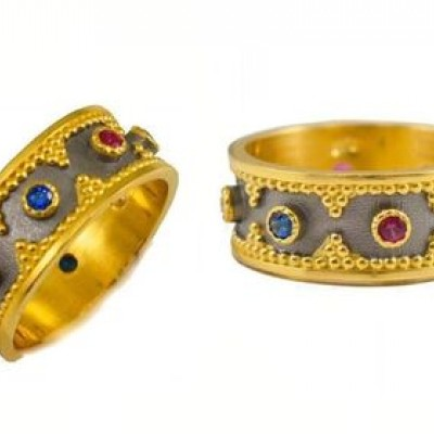 Handmade Byzantine Gold Plated Silver Ring